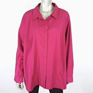 Maggie Barnes Plus Size 2X 22W 24W Pink Button Top